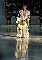 16 November 2008: University of Vermont Catamount goaltender Mike Spillane, a Junior from Bow, NH, is introduced prior to a game against the Merrimack College Warriors at Gutterson Fieldhouse in Burlington, Vermont. The Catamounts defeated the Warriors 2-1 in Hockey East play...Mandatory Photo Credit: Ed Wolfstein Photo