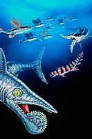 illustration, artists rendition of Paleozoic shark, clockwise from lower left, Helicoprion, Promyxele, Edestus giganteus, Orthancanthus, prehistoric shark