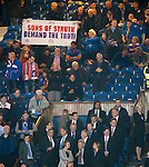 Rangers directors with a Sons of Struth protest banner behind the directors box