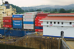Large shipping boat going through the Miraflores Locks of the Panama Canal, Panama City, Panama