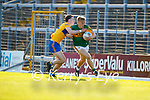 Killian Spillane, Kerry, in action against Joe McGann, Clare, during the Munster Football Championship game between Kerry and Clare at Fitzgerald Stadium, Killarney on Saturday.