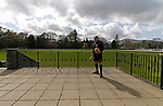Keswick 1 Kendal 1, 15/04/2017. Fitz Park, Westmoreland League. The Referee waits for the players to emerge from the changing rooms. Photo by Paul Thompson.