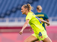 TOKYO, JAPAN - JULY 24: Fridolina Rolfo #18 of Sweden celebrates her goal during a game between Australia and Sweden at Saitama Stadium on July 24, 2021 in Tokyo, Japan.