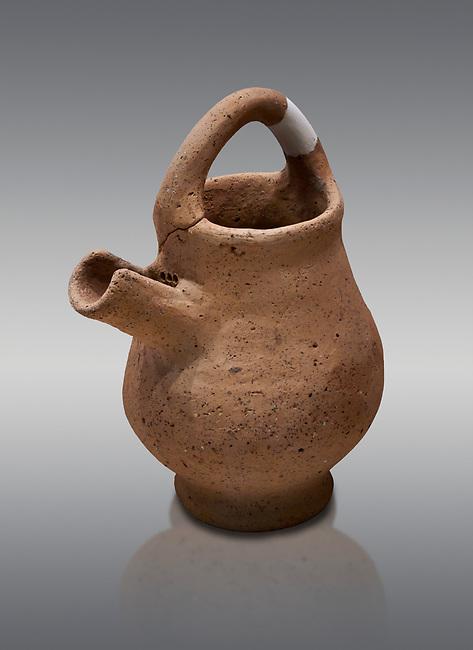 Hittite terra cotta side spout with strainer basket handle pitcher. Hittite Period, 1600 - 1200 BC, Ortakoy Sapinuva . Ortakoy Sapinuvwa . Çorum Archaeological Museum, Corum, Turkey
