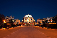 Plaza de Oriente looking to the Teatro Real at night, Madrid, Spain