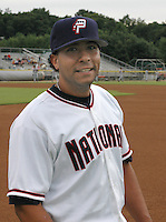 Catcher Erick San Pedro (5) of the Potomac Nationals, Class A Carolina League affiliate of the Washington Nationals, before a game on August 25, 2005, at Pfitzner Stadium in Woodbridge, Virginia. (Tom Priddy/Four Seam Images)
