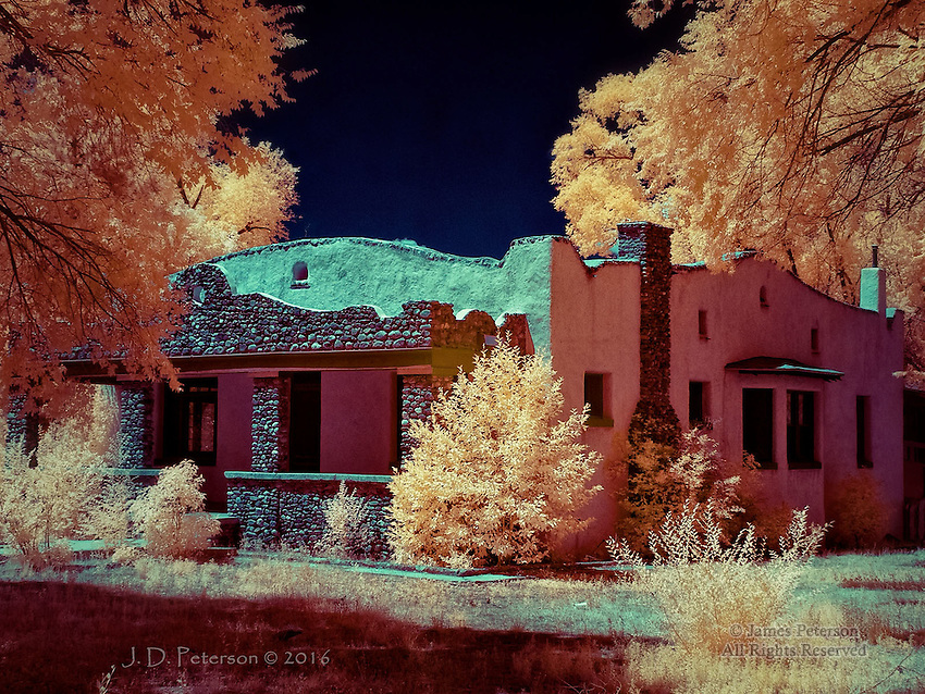 Historic Home, Taos, New Mexico (Infrared) ©2016 James D Peterson.  This house was vacant and on the market when I photographed it.  It features a rugged, territorial-style exterior plus, if you have infrared eyes, some otherworldly landscaping.