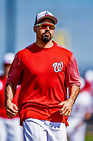 21 February 2019: Washington Nationals third baseman Anthony Rendon runs bases during a Spring Training workout at the Ballpark of the Palm Beaches in West Palm Beach, Florida. Mandatory Credit: Ed Wolfstein Photo *** RAW (NEF) Image File Available ***