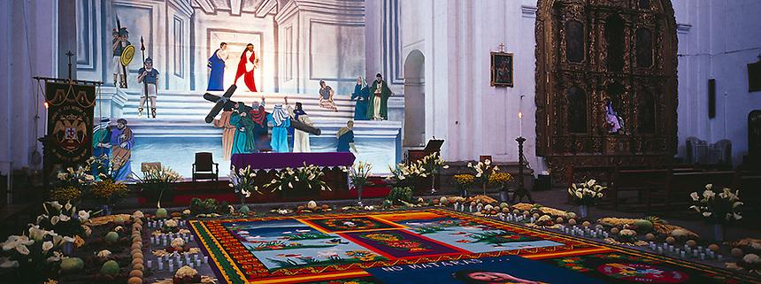 Church La Merced decorated for Semana Santa, Antigua, Guatemala, Photograph by Peter E. Randall
