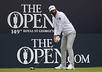 14th July 2021; The Royal St. George's Golf Club, Sandwich, Kent, England; The 149th Open Golf Championship, practice day; Dustin Johnson (USA) prepares to his his tee shot on the 1st hole