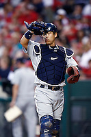 Kenji Johjima of the Seattle Mariners during a game from the 2007 season at Angel Stadium in Anaheim, California. (Larry Goren/Four Seam Images)