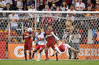 Joel Lindpere (20) of the New York Red Bulls scores off a bicycle kick. Real Salt Lake defeated the New York Red Bulls 3-1 during a Major League Soccer (MLS) match at Red Bull Arena in Harrison, NJ, on September 21, 2011.