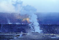 Steam rising inside Halemaumau crater, Hawaii Volcanoes National Park