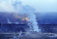 Steam rising inside Halemaumau crater, Hawaii Volcanoes National Park