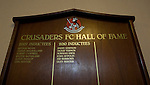 Crusaders 1 Fulham 3, 16/07/2011. Seaview Park, Europa League 2nd qualifying round first leg. A wooden honours board on display in the old changing room area at Seaview Park, Belfast before Northern Irish club Crusaders take on Fulham in a UEFA Europa League 2nd qualifying round, first leg match. The visitors from England won by 3 goals to 1 before a crowd of 3011. Photo by Colin McPherson.