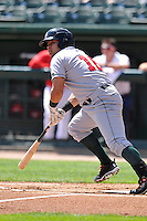 Josmar Cordero #16 of the Great Lakes Loons heads toward first base against the Peoria Chiefs at Dozer Park on July 28, 2014 in Peoria, Illinois. The Loons won 4-0.   (Dennis Hubbard/Four Seam Images)