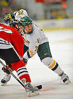 18 January 2008: University of Vermont Catamounts' forward Jonathan Higgins, a Sophomore from Stratham, NH, in action against the Northeastern University Huskies at Gutterson Fieldhouse in Burlington, Vermont. The two teams battled to a 2-2 tie in the first game of their 2-game weekend series...Mandatory Photo Credit: Ed Wolfstein Photo