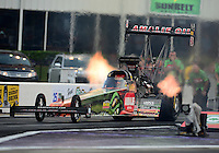 Apr. 27, 2012; Baytown, TX, USA: NHRA top fuel dragster driver Terry McMillen during qualifying for the Spring Nationals at Royal Purple Raceway. Mandatory Credit: Mark J. Rebilas-