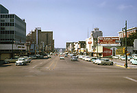 Vintage 1961 view of downtown Austin looking south down Congress Avenue in downtown Austin, Texas. This is image is shot on 35mm Kodak color slide film.