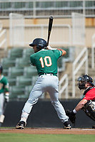 J.C. Millan (10) of the Greensboro Grasshoppers at bat against the Kannapolis Intimidators at Kannapolis Intimidators Stadium on August 13, 2017 in Kannapolis, North Carolina.  The Grasshoppers defeated the Intimidators 4-1 in 10 innings in the completion of a game suspended on August 12, 2017.  (Brian Westerholt/Four Seam Images)