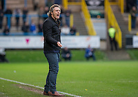 Wycombe Wanderers Manager Gareth Ainsworth shouts instructions during the FA Cup 1st Round match between FC Halifax Town and Wycombe Wanderers at The Shay Stadium, Shaw Hill, Halifax, West Yorkshire, England on 8 November 2015. Photo by Andy Rowland.