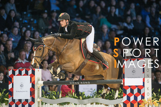 Nicola Philippaerts of Belgium riding Ustina Sitte competetes during the Hong Kong Jockey Club Trophy competition, part of the Longines Masters of Hong Kong on 10 February 2017 at the Asia World Expo in Hong Kong, China. Photo by Juan Serrano / Power Sport Images