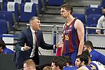 FC Barcelona's coach Sarunas Jasikevicius with Pau Gasol during Liga Endesa ACB 1st Final match. June 13,2021. (ALTERPHOTOS/Acero)