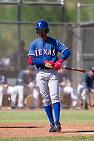 Texas Rangers outfielder Leody Taveras (37) at bat during an Instructional League game against the San Diego Padres on September 20, 2017 at Peoria Sports Complex in Peoria, Arizona. (Zachary Lucy/Four Seam Images)