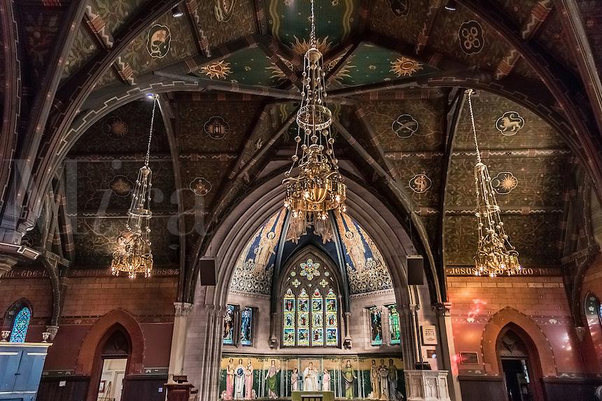 Sage Chapel interior at Cornell University, Ithaca, New York, USA
