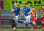 St Johnstone v Partick Thistle…02.03.16  SPFL McDiarmid Park, Perth<br />Steven MacLean congratulates Chris Kane on his goal<br />Picture by Graeme Hart.<br />Copyright Perthshire Picture Agency<br />Tel: 01738 623350  Mobile: 07990 594431