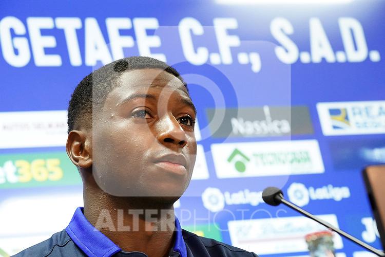 Getafe CF's new player Abdoulay Diaby during his official presentation. October 7, 2020. (ALTERPHOTOS/Acero)