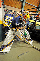 15 February 2008: Merrimack College Warriors' goaltender Andrew Braithwaite, a Sophomore from Kingston, Ontario, waits to take the ice prior to a game against the University of Vermont Catamounts at Gutterson Fieldhouse in Burlington, Vermont. The Catamounts defeated the Warriors 4-1 in the first game of their 2-game weekend series...Mandatory Photo Credit: Ed Wolfstein Photo
