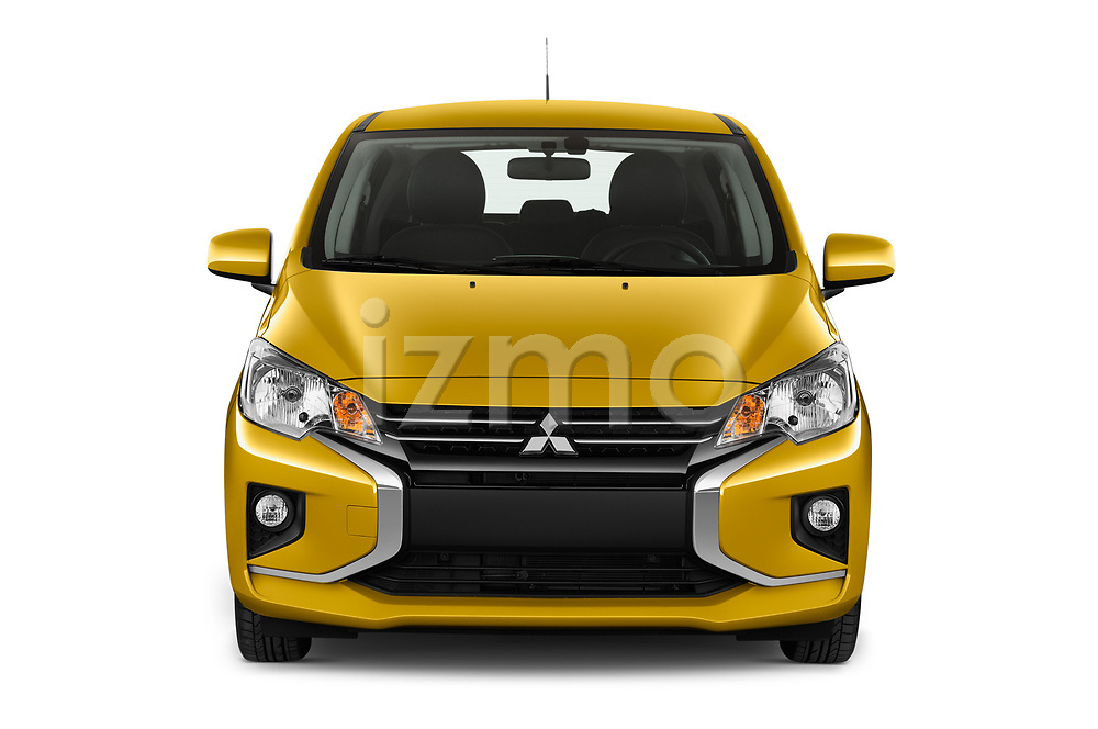 Car photography straight front view of a 2020 Mitsubishi Space-Star Diamond-Edition 5 Door Hatchback Front View