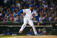 Chicago Cubs pitcher Aroldis Chapman (54) in the ninth inning during Game 3 of the Major League Baseball World Series against the Cleveland Indians on October 28, 2016 at Wrigley Field in Chicago, Illinois.  (Mike Janes/Four Seam Images)