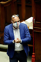 Deputies wearing colored masks, some with symbols of their parties, some with flags of their regions, or simply matched with their clothes at the Chamber of Deputies, during the final vote on the Justice Decree. Rome (Italy), June 25th 2020<br /> Foto Samantha Zucchi Insidefoto