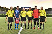 Miami, FL - Tuesday, October 15, 2019:  Djordje Mihailovic #8, Referees during a friendly match between the USMNT U-23 and El Salvador at FIU Soccer Stadium.