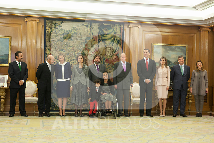 Spanish Royals, Prince Felipe of Spain, Princess Letizia of Spain, Queen Sofia of Spain, King Juan Carlos of Spain and Enfant Sofia of Spain attend the Sports Merit Royal Order Great Cross award to paralympic swimmer Maria Teresa Perales at Zarzuela Palace in Madrid, Spain. April 01, 2014. (ALTERPHOTOS/Victor Blanco)
