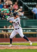21 July 2019: Vermont Lake Monsters outfielder Marty Bechina in action against the Tri-City ValleyCats at Centennial Field in Burlington, Vermont. The Lake Monsters rallied to defeat the ValleyCats 6-3 in NY Penn League play. Mandatory Credit: Ed Wolfstein Photo *** RAW (NEF) Image File Available ***
