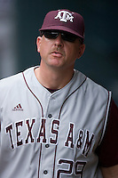 Texas A&M Aggies head coach Rob Childress #29 in the dugout at the 2009 Houston College Classic at Minute Maid Park February 27, 2009 in Houston, TX.  The Aggies defeated the Anteaters 9-2. (Photo by Brian Westerholt / Four Seam Images)