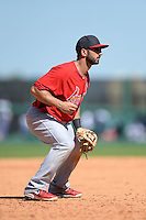 St. Louis Cardinals second baseman Daniel Descalso (33) during a spring training game against the Detroit Tigers on March 3, 2014 at Joker Marchant Stadium in Lakeland, Florida.  Detroit defeated St. Louis 8-5.  (Mike Janes/Four Seam Images)