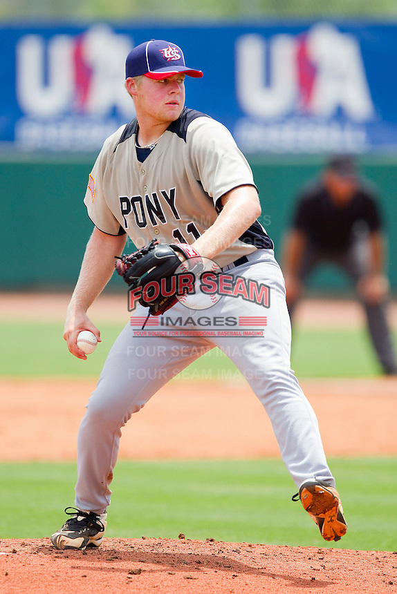 Curt Britt #11 of PONY in action against Dixie at the 2011 Tournament of Stars at the USA Baseball National Training Center on June 26, 2011 in Cary, North Carolina.  PONY defeated Dixie 4-3. (Brian Westerholt/Four Seam Images)