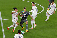 ST PAUL, MN - SEPTEMBER 27: Robin Lod #17 of Minnesota United FC works through traffic during a game between Real Salt Lake and Minnesota United FC at Allianz Field on September 27, 2020 in St Paul, Minnesota.