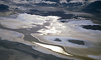 aerial photograph of reflections at saline deposits Death Valley National Park, northern Mojave Desert, California
