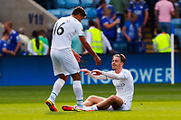 11th September 2021; King Power Stadium, Leicester, Leicestershire, England;  Premier League Football, Leicester City versus Manchester City; Rodri  of Manchester City congratulates team-mate Jack Grealish after the final whistle