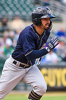 San Antonio Missions outfielder Nate Orf (6) runs to first base during a Pacific Coast League game against the Iowa Cubs on May 2, 2019 at Principal Park in Des Moines, Iowa. Iowa defeated San Antonio 8-6. (Brad Krause/Four Seam Images)