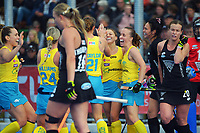 Hockeyroos celebrate Rosie Malone's goal during the Sentinel Homes Trans Tasman Series hockey match between the New Zealand Black Sticks Women and the Australian Hockeyroos at Massey University Hockey Turf in Palmerston North, New Zealand on Sunday, 30 May 2021 Photo: Dave Lintott / lintottphoto.co.nz