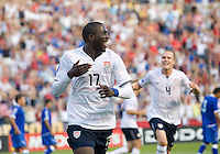 Jozy Altidore of the USA celebrates his winning goal against El Salvador during a World Cup Qualifying match at Rio Tinto Stadium, in Sandy, Utah, Friday, September 5, 2009.  .The USA won 2-1.