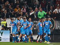 Calcio, Serie A: Juventus Stadium. Torino, Juventus Stadium, 29 ottobre 2016.<br /> Napoli's Jose' Callejon, third from right, celebrates with teammates after scoring during the Italian Serie A football match between Juventus and Napoli at Turin's Juventus Stadium, 29 October 2016. Juventus won 2-1.<br /> UPDATE IMAGES PRESS/Isabella Bonotto