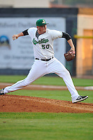 Aaron Brooks #50 of the Clinton LumberKings throws against the South Bend Silver Hawks at Ashford University Field on July 26, 2014 in Clinton, Iowa. The Sliver Hawks won 2-0.   (Dennis Hubbard/Four Seam Images)