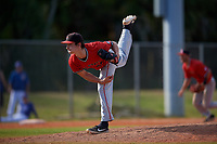 Ball State Cardinals relief pitcher Landon McGill (43) during a game against the Mount St. Mary's Mountaineers on March 9, 2019 at North Charlotte Regional Park in Port Charlotte, Florida.  Ball State defeated Mount St. Mary's 12-9.  (Mike Janes/Four Seam Images)
